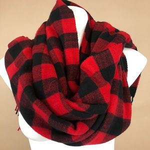 J Crew Buffalo Plaid Soft Long Red and Black Scarf